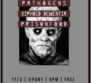 11/3 – Pathogens, Xiphoid Dementia, Prisonfood @ Gallery 1412